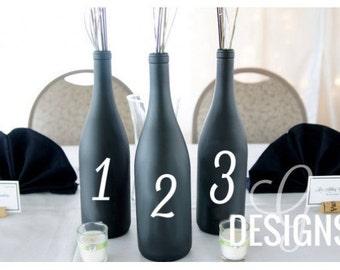 Table Numbers Wedding Wine Bottle Centerpiece Vinyl Decal Decorations