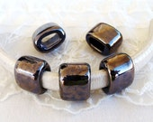 Ceramic Bead Tube Slider Mauve Silver, Blue Silver, Oil On Water for use Oval Licorice Leather Cord 10x6mm- 1 piece
