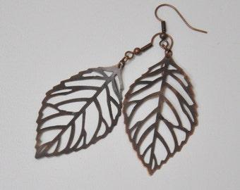 Large Filigree Leaf Earrings, Antique Copper Leaf Earrings, Nature Inspired Jewelry, Boho Bohemian Leaf Earrings, Bridesmaid Gift