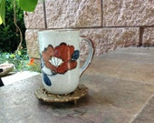 Vintage Pottery Mug - Mid Century - Abstract  - Orange with Brown and Blue - Speckled -  Copper