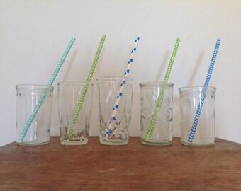 Vintage Juice Glasses - Set of 5 - Pressed Glass