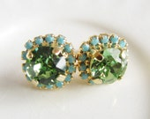 Poison Peridot Green & Turquoise Blue Stud Earrings Rhinestones Swarovski Post Pavé Earrings