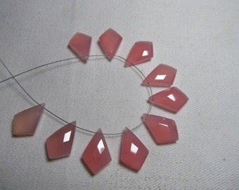 5 Matched Pairs Calibrated Huge size 12x18 mm - Gorgeous Rose  Pink CHALCEDONY - Faceted Tie Shape  Briolett Total 10 pcs