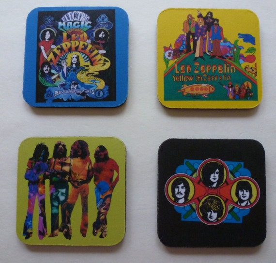 Led Zeppelin Pop Art Drink Coaster Set Classic Rock Music