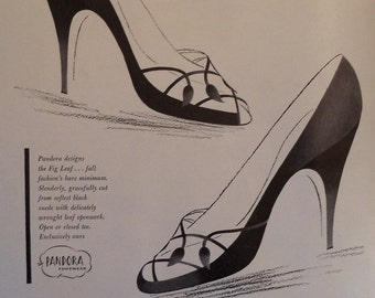 Vogue Magazine Advertising 1954 Pandora Shoes Ladies Footwear Ad Chic Sophisticated
