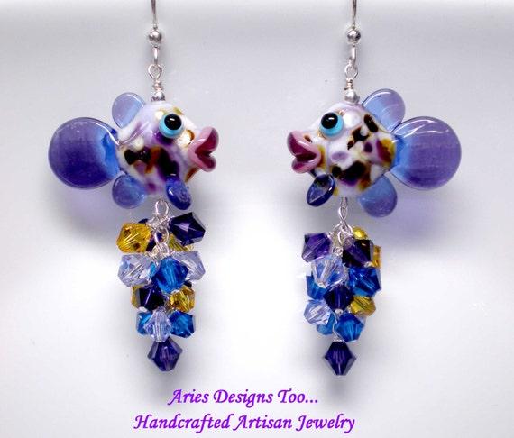 Kissing  Fishies....Fish Lampwork Earrings in Purple, Yellow,Capri Blue and Violet.