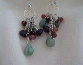 Emerald, Pink Tourmaline, Amethyst and Sterling Silver Chandelier Earrings
