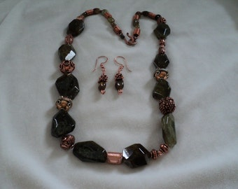 Green Garnet and Copper Necklace and Earrings