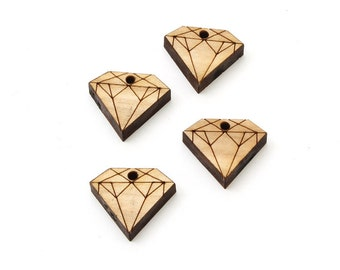 "Set of 6 Diamond Charms (3/4"") made from Sustainable Wood- Itsies by Timber Green Woods. Made in the USA. Wooden Diamond Beads."