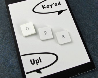 iTacks - GR8, great, Upcycled Mac Computer Key Thumbtacks - set of 3, gift, birthday