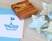 Newspaper Boat  Olive Wood Stamp
