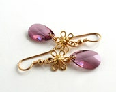 Gold Dangle Earrings, Pink Crystal Earrings, Gold Flower Earrings, Crystal Dangle Earrings