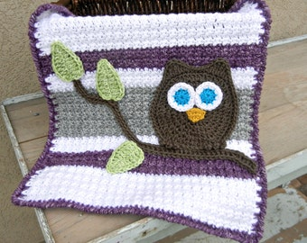 Owl Baby Blanket Grey Purple Lovey Size Baby Shower Gift