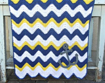 Chevron Anchor Baby Blanket Blue Yellow Shower Gift Ready to Ship