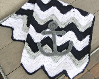 Chevron Anchor Baby Blanket Navy Blue Gray Baby Shower Gift