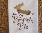 Pumpkin Pie (White) - Microfiber Waffle Weave Kitchen Hand Towel