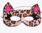 Cheetah Cat Felt Mask, Animal Mask, Animal Birthday Party Favors, Child's Halloween Costume, Adult Mask, Brown or Light Pink Cheetah Print