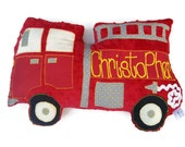 Firetruck Pillow, Fire Truck, Personalized, Custom Truck Plush Pillow, Toddler Plush Toy, Baby Shower Gift, Custom MADE TO ORDER