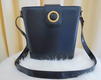 Vintage Gold Crest Faux Leather Dark Navy Shoulder Bag Handbag