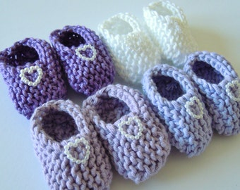 Girl baby shower decorations: 4 pairs of hand knitted baby mini booties with pearlised hearts - purple/ lilac/ lavender/ white  2 inches
