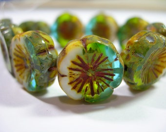 10 beads - Aqua/ Green/ White Picasso Czech Glass Flower Beads 14mm