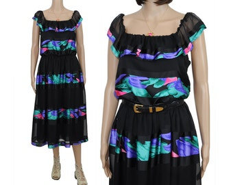 Satin & Chiffon Tulip Stripe Dress / M