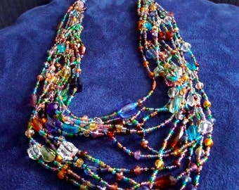 Crystal Multi-strand  Statement Necklace