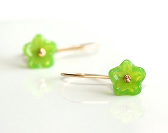 Green Flower Earrings - 'Hello World'