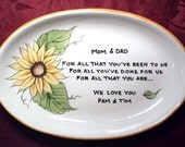 Wedding Mother of the Bride Gift Personalized to my Mom and Dad - Wedding  Gift for Parents Plate - sunflowers