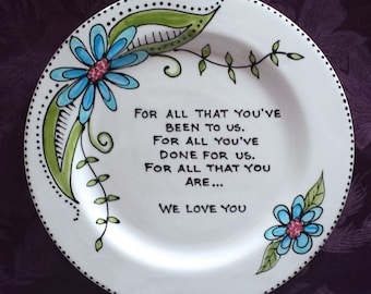 MOTHER of the BRIDE Gift, Mother of the Groom Gift,Personalized gift Mom and Dad - Wedding Gift for Parents, wedding plate-Funky Floral