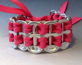 Recycled Soda Pop Can Tab Bracelet Hot Pink Ribbon