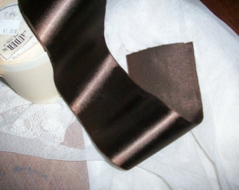 """1 yd. of Dark Chocolate french vintage satin faille back heavy rayon ribbon 3"""" wide"""