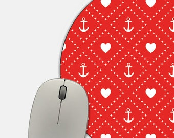 Red Mousepad - Red Anchor Mousepad - Red Heart Nautical Mousepad - Red Mouse Pad - Anchor Mouse Pad - Nautical Mouse Pad