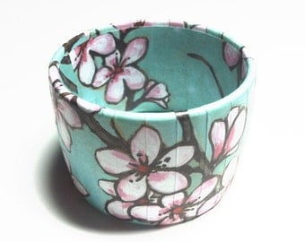 Cherry Blossom Jewelry, Bangle Bracelets with Water Color Cherry Blossoms, Spring and Summertime Bracelet, Cherry Blossom Bangle,