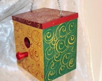 Wood Birdhouse Swirls and Swirls bright and delightful