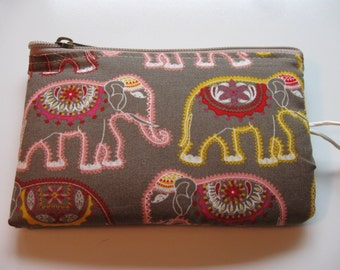india elephant print padded makeup jewelry bag