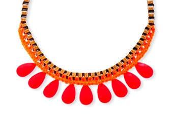 Red and Orange fiber Fashion Necklace, Metal Statement Necklace, Drop Bead Trendy necklace