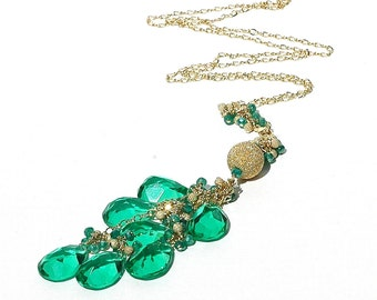 Caribbean Quartz Tassel Necklace / 14K Gold / Long Necklace / Boho / Modern Jewelry / Teardrop Pendant / Adjustable / Gifts For Her / OOAK