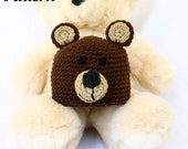 Bear baby hat PDF crochet PATTERN 0-6 month brown black infant newborn headwear boy beanie photography prop costume accessory