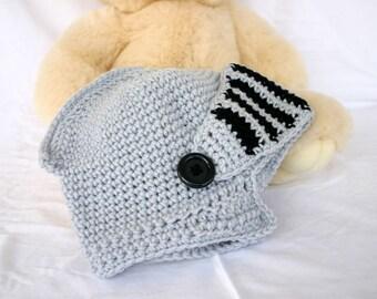 Crochet knight hat adult medium pull-down visor grey gray black helmet medieval costume accessory geekery  men women renaissance era cap
