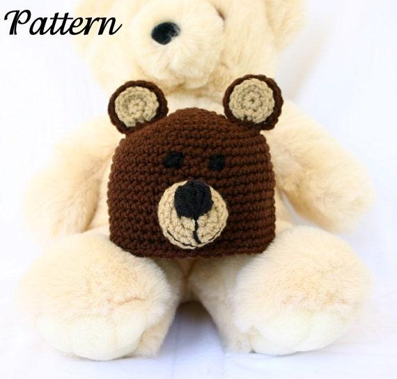 Crochet Baby Bear Beanie Pattern : Bear baby hat PDF crochet PATTERN 0-6 month brown black infant