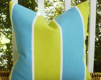 Lime and Turquoise Stripe Outdoor Decorative 18 X 18 inch Accent Throw Pillow Cover