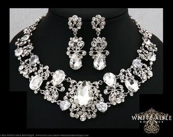 Bridal Jewelry Set, Crystal Statement Necklace Earrings, Vintage Style Bridal Necklace, Bridal Earrings, Wedding Necklace Set