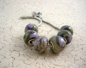 Lavender and green large hole bracelet beads polymer clay beads