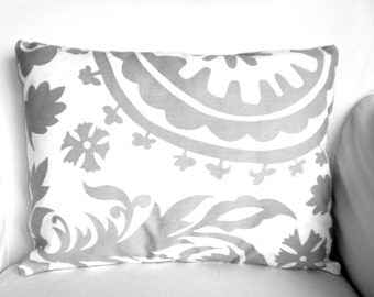 Gray Lumbar Pillow Cover, Decorative Throw Pillows, Cushion, Gray White Suzani Lumbar, Pillows for Couch, Toss Pillow One 12 x 16 or 12 x 18