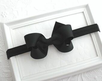 """Black Bow Headband, Baby Headband, Halloween Headband, Alice Headband, Black Hair Bow, 3"""" Black Bow, Newborn Infant Bow Headband"""