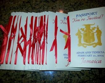 Passport Invitation with Postcard RSVP