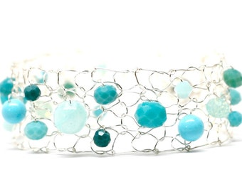 Silver Thin Cuff Ocean Inspired Aqua Turquoise Teal Beaded Bracelet Mermaid Bracelet Delicate Silver Wire Arm Cuff