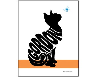 Personalized Cat with Butterfly Silhouette Print, Custom Cat Name Art, Gift for Cat Lover