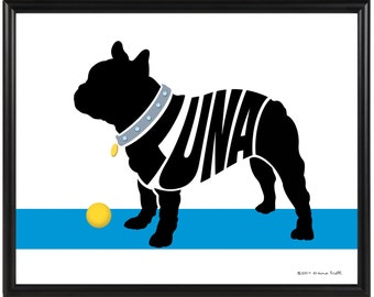 Personalized French Bulldog Silhouette Print, Framed Bulldog Name Art, Gift for Dog Lover
